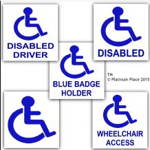 5 x Value Pack-EXTERNAL-Disabled Car Stickers-Disability Wheelchair Blue Badge Holder-Mobility Signs